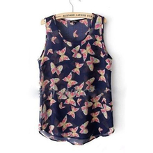 S-3XL Max Size 2016 Fashion Plus Size Summer Vest Women Butterfly Print Sleeveless O-neck Tank Top Chiffon Blouse T-Shirt