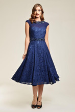 Custom Blue Lace Mother Of The Bridesmaid Dresses Tea-Length Sheer 2016 Beads Crystals V-Back Special Plus Size Gowns(China (Mainland))
