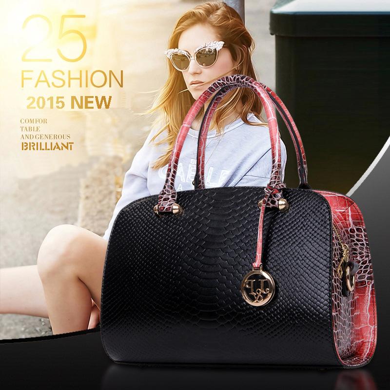 2015 Spring Fashion Women Bags Snake Leather Handbag Shoulder Bag Crossbody Bags For Women Designer Handbags High Quality H181(China (Mainland))