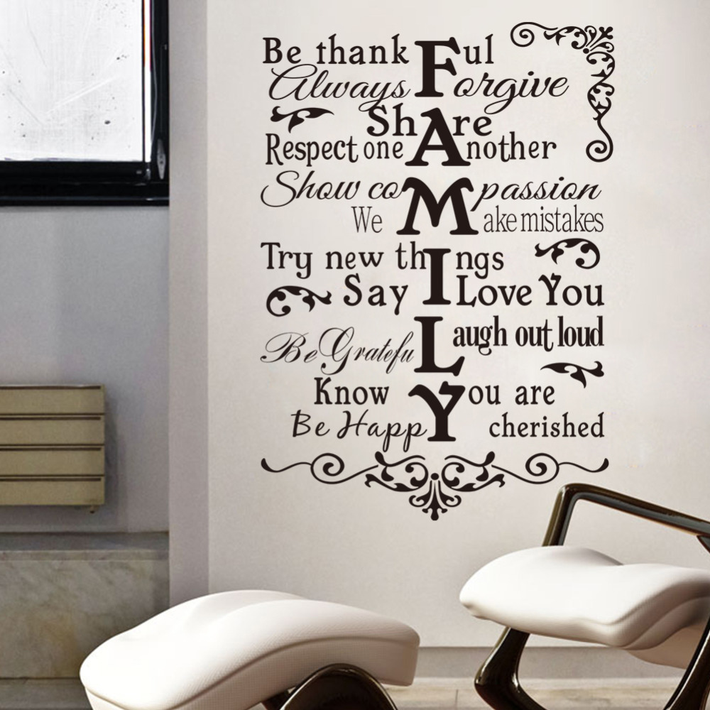 Home Decoration Wall Stickers Words Wallpaper FAMILY RULES ZY8224(China (Mainland))