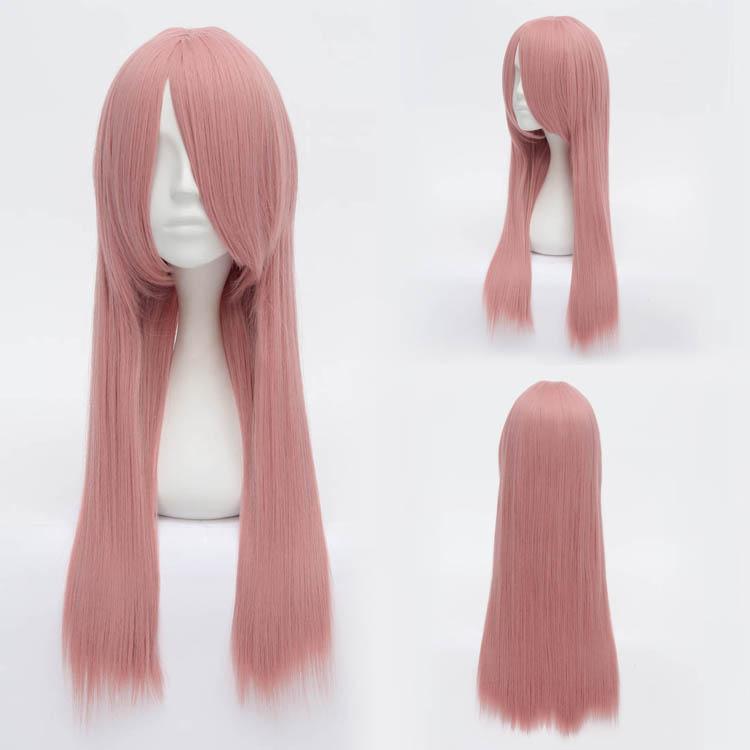 Anime Beautiful Straight Pink smoke New Wig Cartoon Characters Full Wigs Synthetic Lolita Lady Cosplay Costume(China (Mainland))