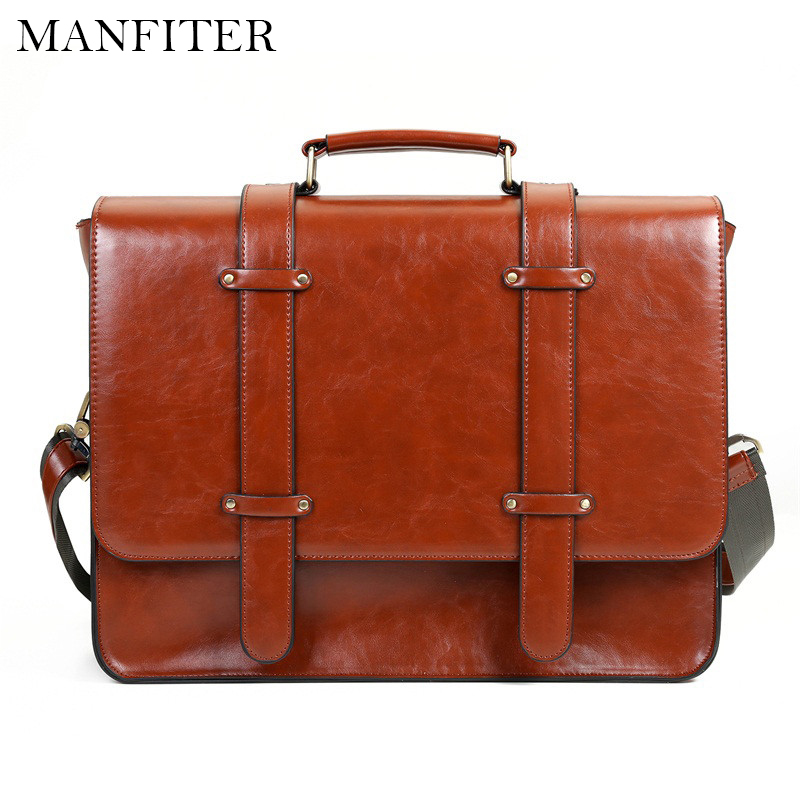 "MANFITER New Women Messenger Bags PU Leather Handbag Vintage Crossbody Satchel Briefcase Bolsas Femininas Bags for 14.7"" Laptop(China (Mainland))"