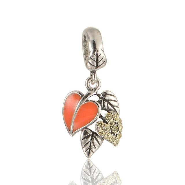 925 - серебристо-ювелирные бусины зима оставляет проложить CZ подвеска бусины Fit Chamilia пандора браслет серебро 925 ювелирных изделий DIY