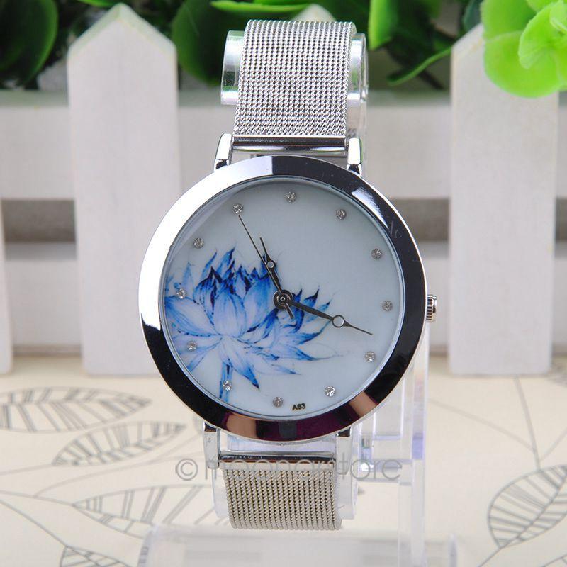 2015 FreeShipping Round Case, Mesh Steel Band, Quartz Wrist simple watch for Women MPJ578(China (Mainland))