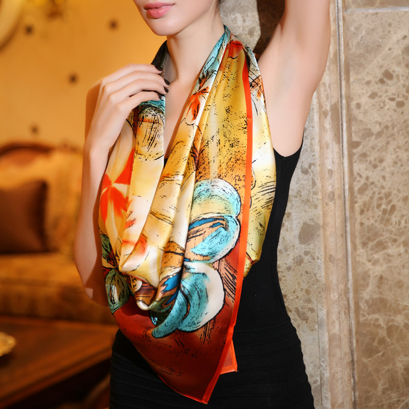 90*90cm 100% Mulberry silk large facecloth cape scarf birthday gift square scarves hijab silk scarves(China (Mainland))