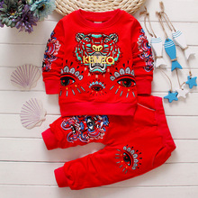 Newest 2016 Spring Baby Boys Girls Tiger Design suits Infant/Newborn Clothes Sets Kids Casual tracksuits Children Suits Hot Sale