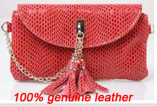2012 new fashion style 100% genuine leather women's  messenger bags  brand  tassel  + chain shoulder bags
