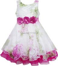 Sunny Fashion Vestido Menina Tule Nupcial Lace Com Flor Detalhamento Casamento