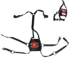 2016 Faux/Pu Leather Sex Bondage Head Harness Panel Ball Gag Trainer Bondage Restraint Toy with Adjustable Strap