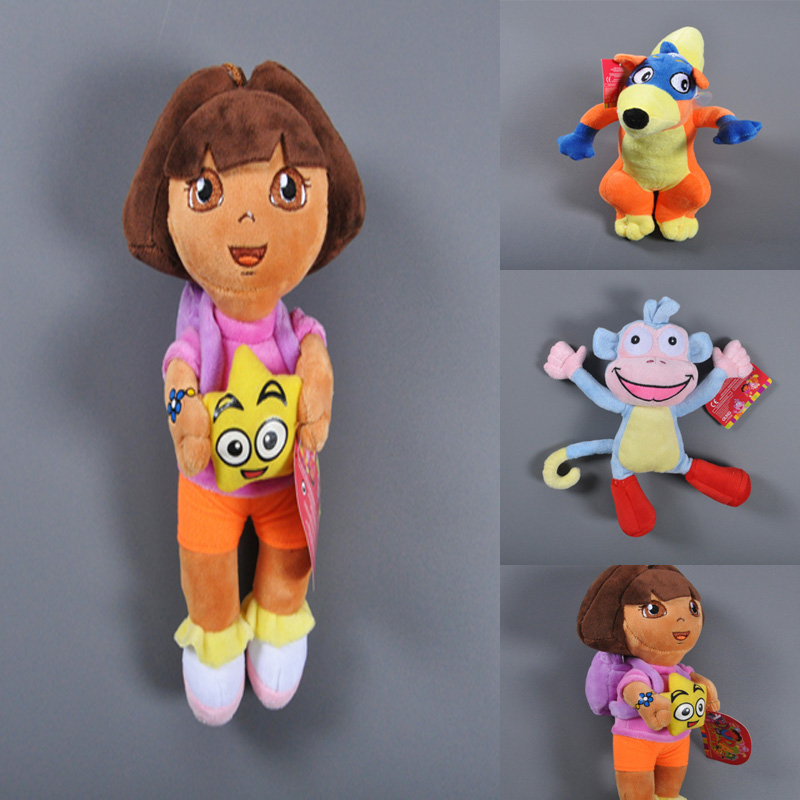 25cm Dora the Explorer Cartoon Movie Characters Boots monkey Swiper fox Stuffed & Plush doll toy gift Christmas Birthday Gift(China (Mainland))