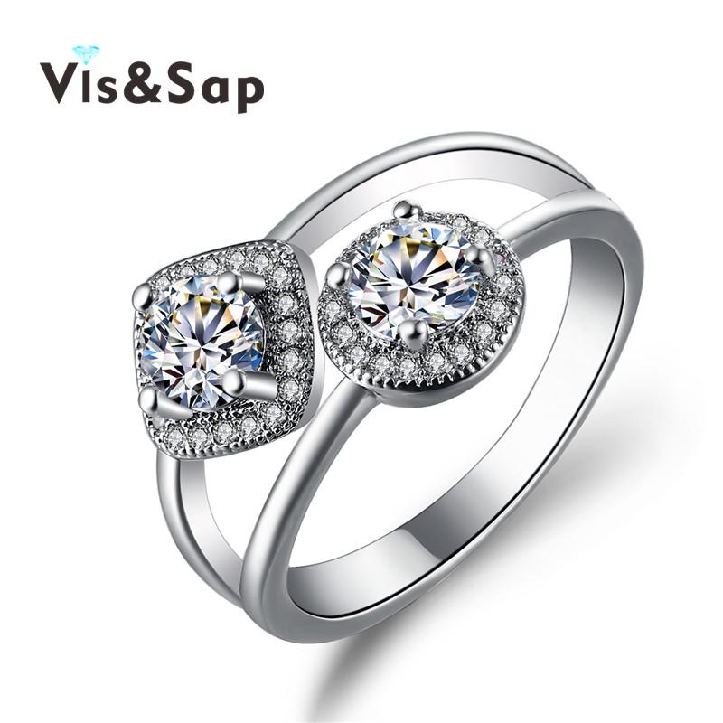 Double CZ diamond ring Rhinestone jewelry white gold Euramerica Rings For women Wedding bands engagement bague Bijoux VSR239(China (Mainland))