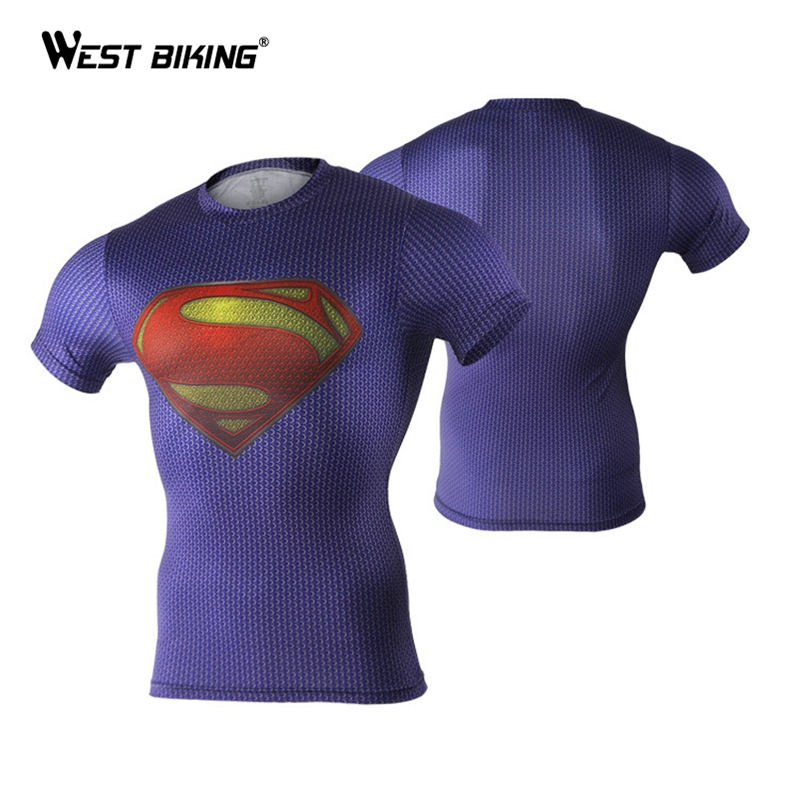 High Elastic Fitness Compression Men T-Shirts Superman Spider Man Captain American Quick Dry 3D Gym Clothing Top Cycling Jerseys(China (Mainland))