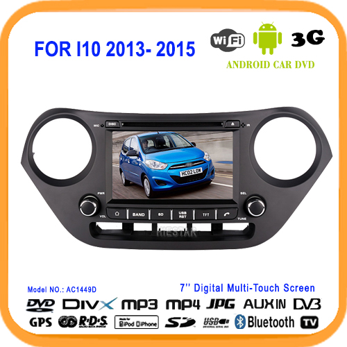 Automotive Car DVD Player Radio GPS Navigator 7'' Touch Screen Quad Band Android 5.1 WIFI All in one TV For HYUNDAI I10 2013(Hong Kong)