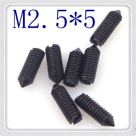 200pcs/lot High Quality M2.5*5 Steel With Black Slotted Set Screw With Cone Point<br><br>Aliexpress
