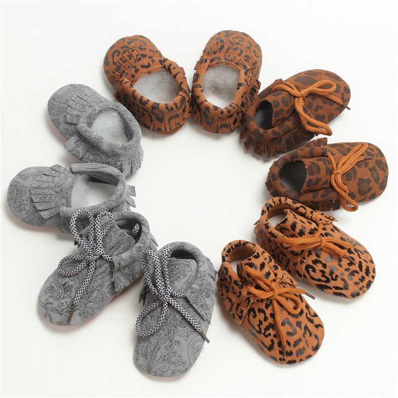 Fashion Genuine Leather Leopard First Walkers Children Newborn Baby Spring Autumn Shoes Infant Toddler Lace-Up Boots Booty 0-2T(China (Mainland))