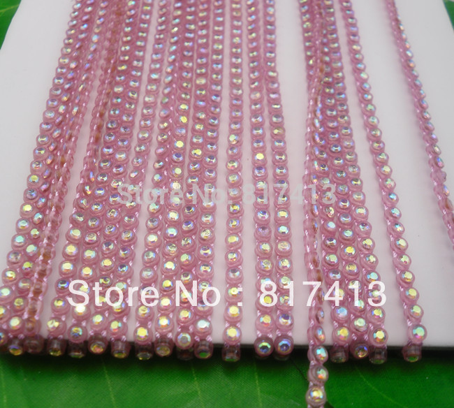 SS6 B grade white AB crystal glass 2mm Rhinestones pink plastic cup banding crafts clothes applique wedding setting chain 10yd(China (Mainland))