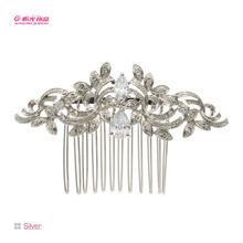 Free Shipping Clear Rhinestone Zircon Flower Hair Comb for Women Party Wedding Bridal 4012R