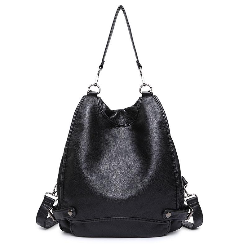 Multifunction Brand designer women backpack fashion PU leather Black school bag for girls large capacity shoulder travel bag