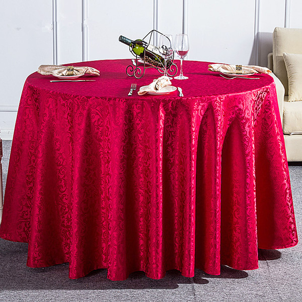 Hotel Table Linen Wedding Table Cloths Polyester Jacquard Round Table Cover Home Textile Red Dining Tablecloth(China (Mainland))
