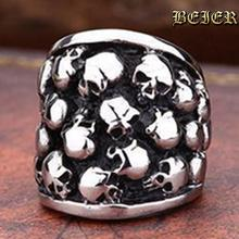 Heavy Metal Fashion Lots Biker Skull Accessories Stainless Steel Exaggerated ring Personality Big Free Shipping TG234