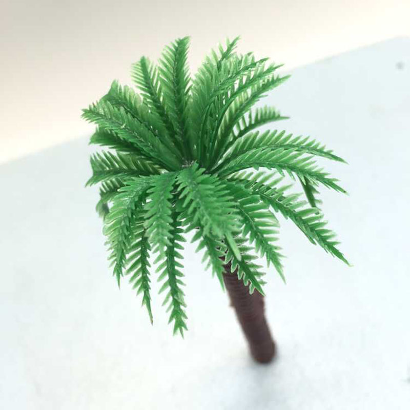 10Pcs/Lot Free Shipping 2015 New Design Coconut Tree Miniature Landscape Artificial Plastic Tree Park House Christmas Decoration(China (Mainland))