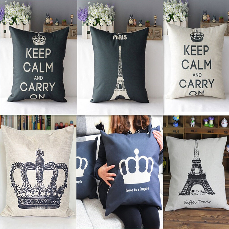 2015 Brand New Popular King Linen Cotton Throw Pillow Cover Case Sofa Bed Home Decor Cushion Cover For a Gift N665(China (Mainland))