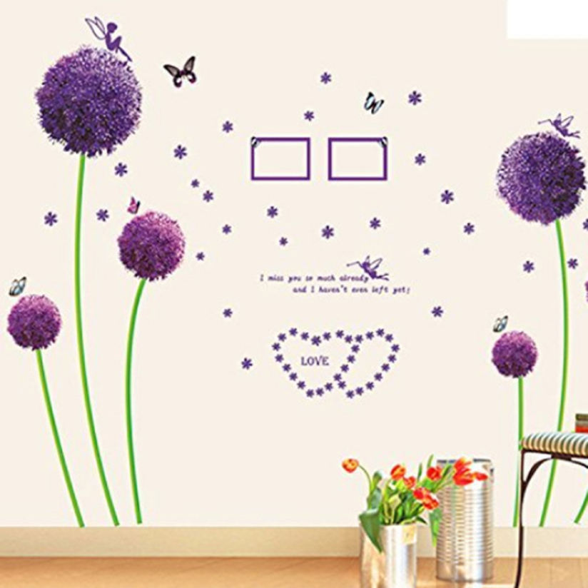 Fantastic New Wall Sticker Bedroom Living Room Purple Dandelion Wall Stickers Home Decor Free shipping(China (Mainland))