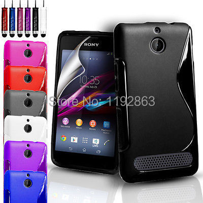Free Shipping Soft TPU Silicone Gel S line Skin Case Cover & Screen protection film & Stylus For Sony Xperia E1(China (Mainland))
