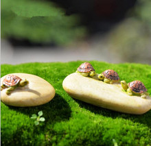 Min order $5, Turtle on the stone Ornament Miniature Figurine Plant Pot Garden Decor Toys Home Crafts Classic Art Collectible(China (Mainland))
