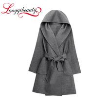 2017 Women's Autumn Winter Jackets and Coats Belt Hooded Warm Woolen Coat Thicken Long Women Gray/Khaki Trench Outerwear(China (Mainland))