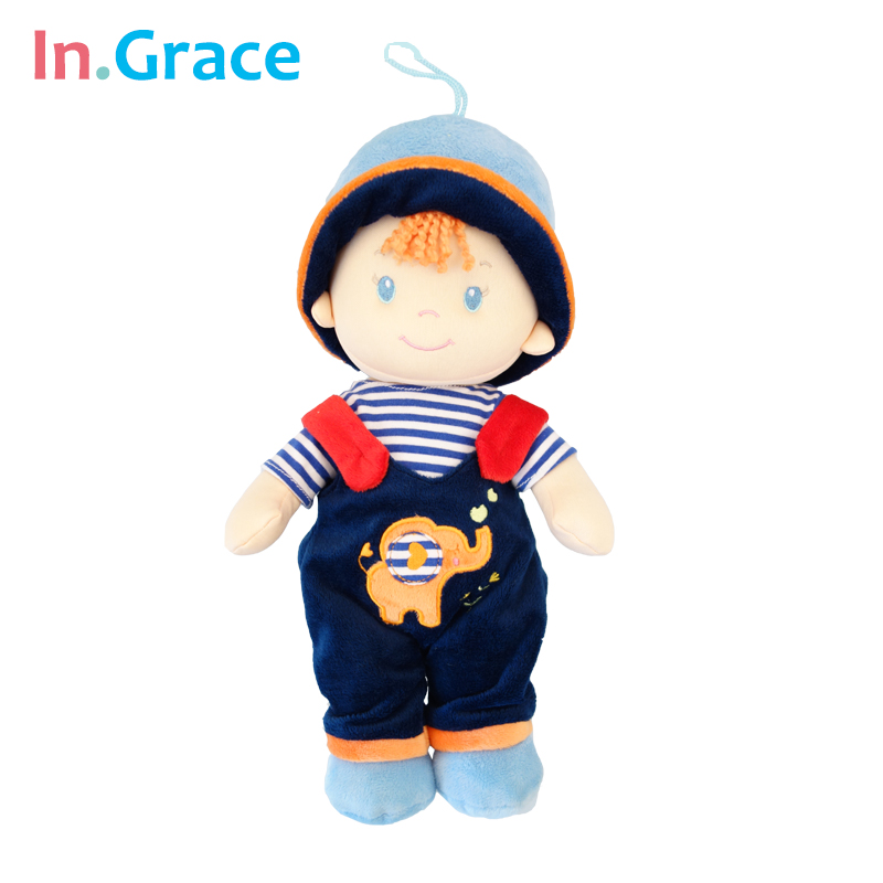 In.Grace cute sweet baby dolls plush and stuffed dolls for baby boy 2 colors baby toy safe material baby sleep calm dolls 30cm(China (Mainland))