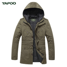Men's Winter Jackets Military Hooded Warm Windbreaker Jacket Long Parka TAPOO Original Brand Outwear Fashion Coat For Men(China (Mainland))