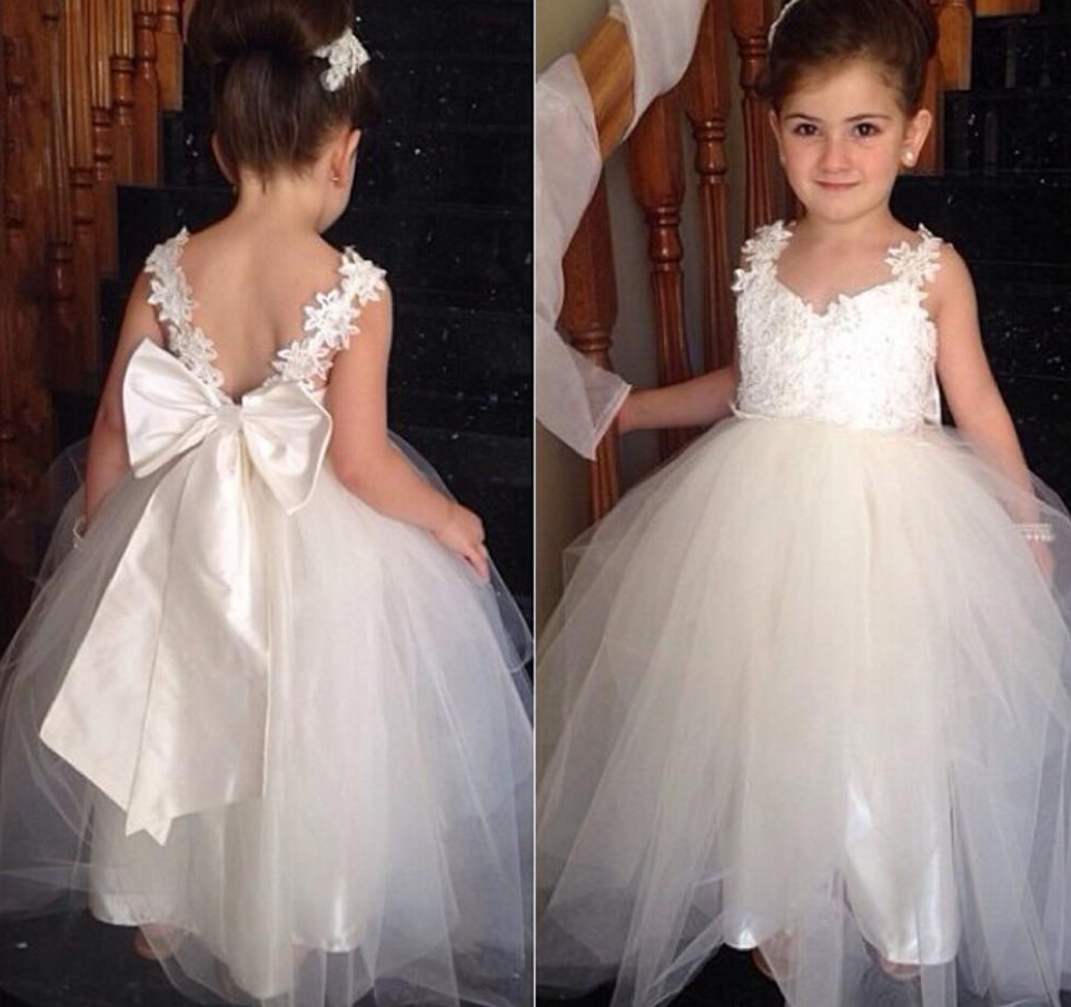 Bow knot cute flower girls dresses for weddings 2016 ball for Little flower girl wedding dresses