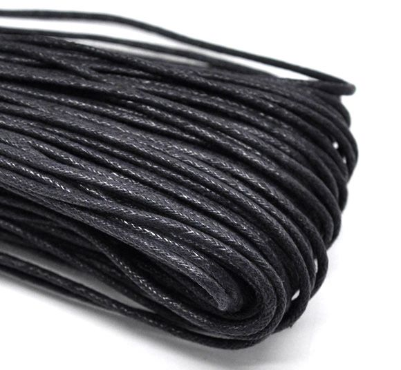 Wholesale Black Waxed Cotton Necklace Cord 2mm,sold per pack of 80M Mr.Jewelry(China (Mainland))