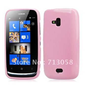 Free shipping 1pcs  tpu case cover for Nokia Lumia 610 with excellent quality different colours