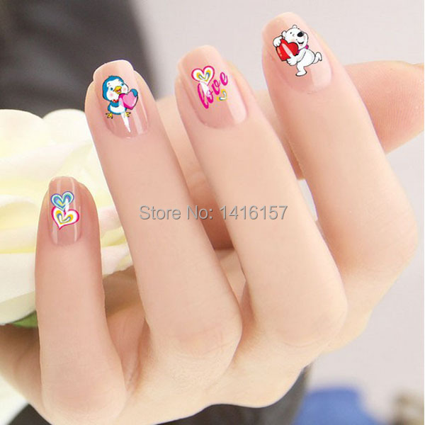 Min.order is $10 (mix order) Water Transfer Nail Art Sticker Decal Cute Blue Chick Love Happy Bears Design French Manicure Tool(China (Mainland))