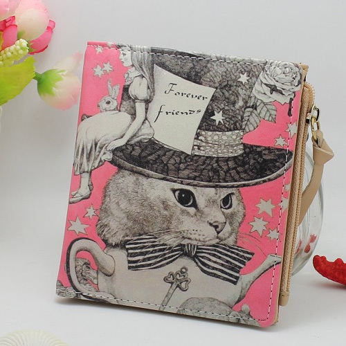 New Japan and Korean Style Women Wallet Animal Prints Girls Short Wallets Fashion Sweet Zipper Change Purse Delicate Cash Purse(China (Mainland))
