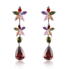 Mengjie jewelry 6 color  Fashion New Crystal Flower Earrings Rhodium Plated Pendant WaterDrop  Earring For Women(China (Mainland))
