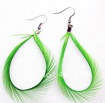 40 Pairs/lot ,Wholesale Feather Earrings Mixed Assorted Colorful Long Feather Have in Stock a090113