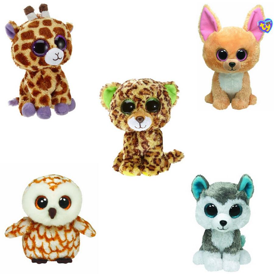 5Pcs/Lot new for TY Beanie Boos Plush Animals Plush Toys.Ty Big Eyes Soft Toys for Children christmas Kids Toys(China (Mainland))