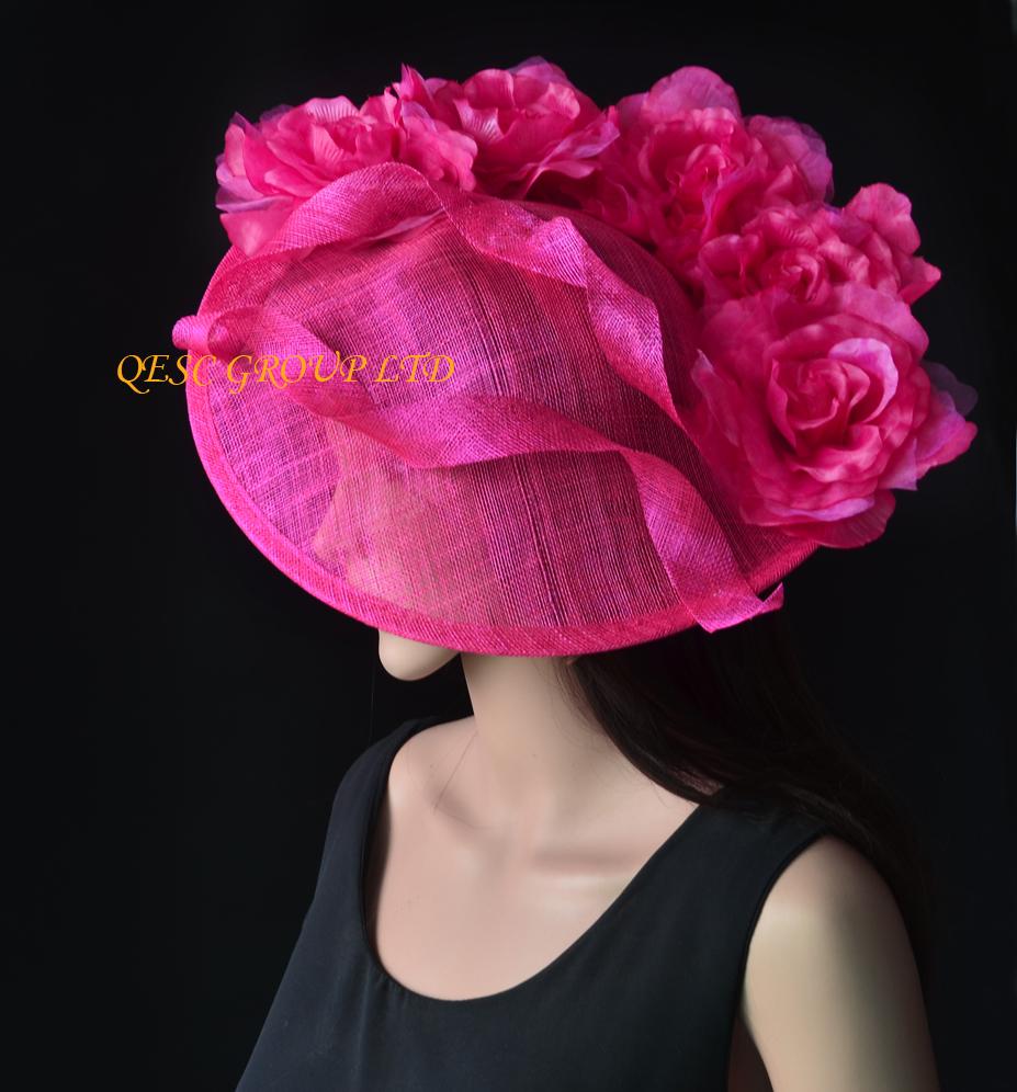 Fuchsia hot pink Big saucer Sinamay Fascinator Hat silk flower fascinator Wedding hat for Kentucky derby,Royal Ascot.(China (Mainland))