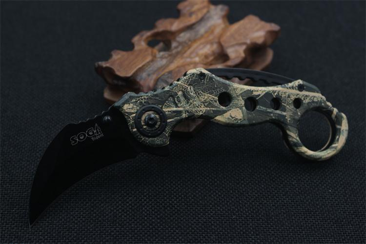 Buy Free Shipping Blade 440C five-color claw folding knife stainless steel handle scorpion paws camping survival outdoor tools cheap