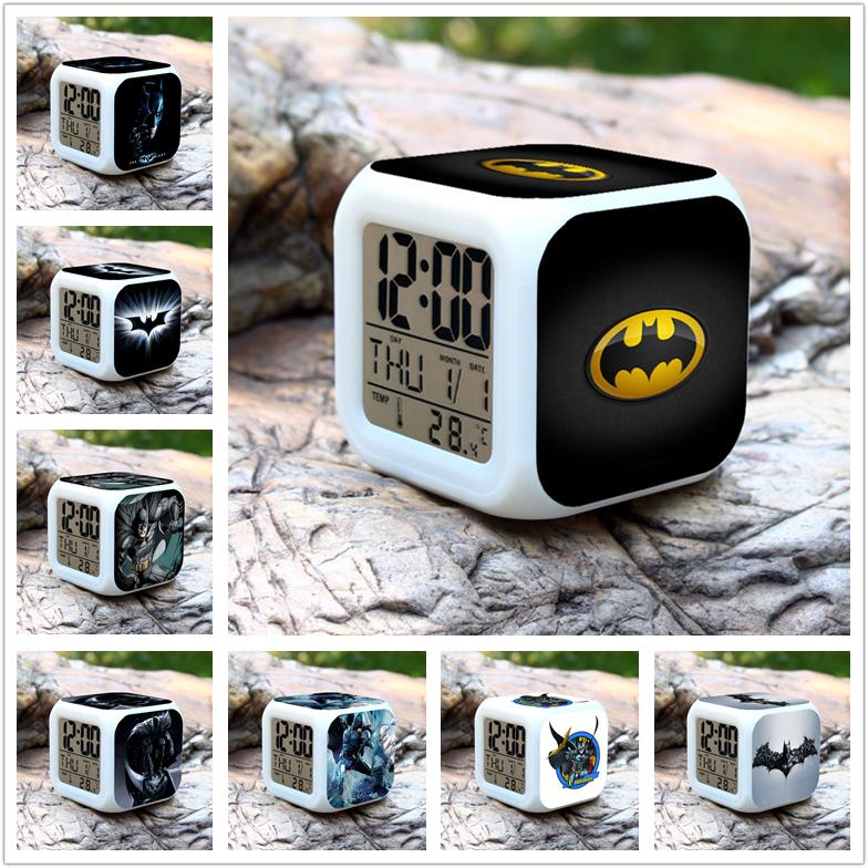 1pcs set Alarm Clock Colorful Superman V Batman Joker Q Action Figure PVC 8cm font b