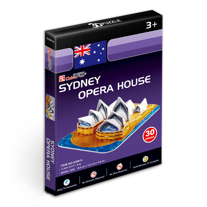 Kids Toys Cubic Fun 3D Puzzle Sydney Opera House Model DIY Puzzle Children Toys Birthday Gifts Educational Toys S3001h(China (Mainland))
