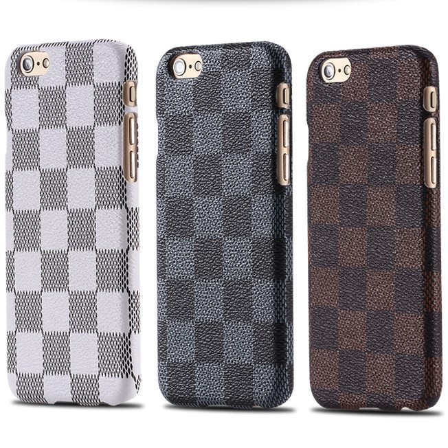 Hot! For iphone 6 4.7 / plus 5.5 Custom Cartoon Luxury Grid Case Back Cover PU Leather + Plastic for Apple iphone 6 /i6 plus(China (Mainland))