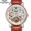 Original GUANQIN Top Brand Luxury Tourbillon Automatic Mechanical Watches Men Antique Big Dial Sapphire Mirror Men