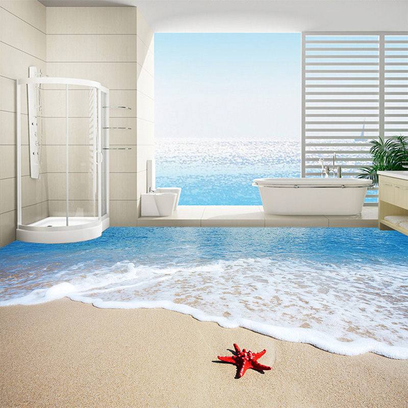 Custom Floor Wallpaper 3D Wall Mural Beach Sea Wave Starfish Kitchen Self Adhesive Wall Paper Waterproof For Bathroom Home Decor(China (Mainland))