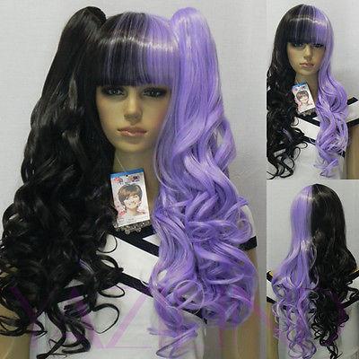 Здесь продается  Long Wavy Black Purple Half Mix Lolita Fibre Hair Halloween Costume Full Wig  Волосы и аксессуары