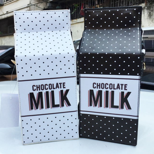 Симпатичные шоколадное молоко коробка форма личности мода дамы цепи письмо щитка мини-посланник сумки белый и черный