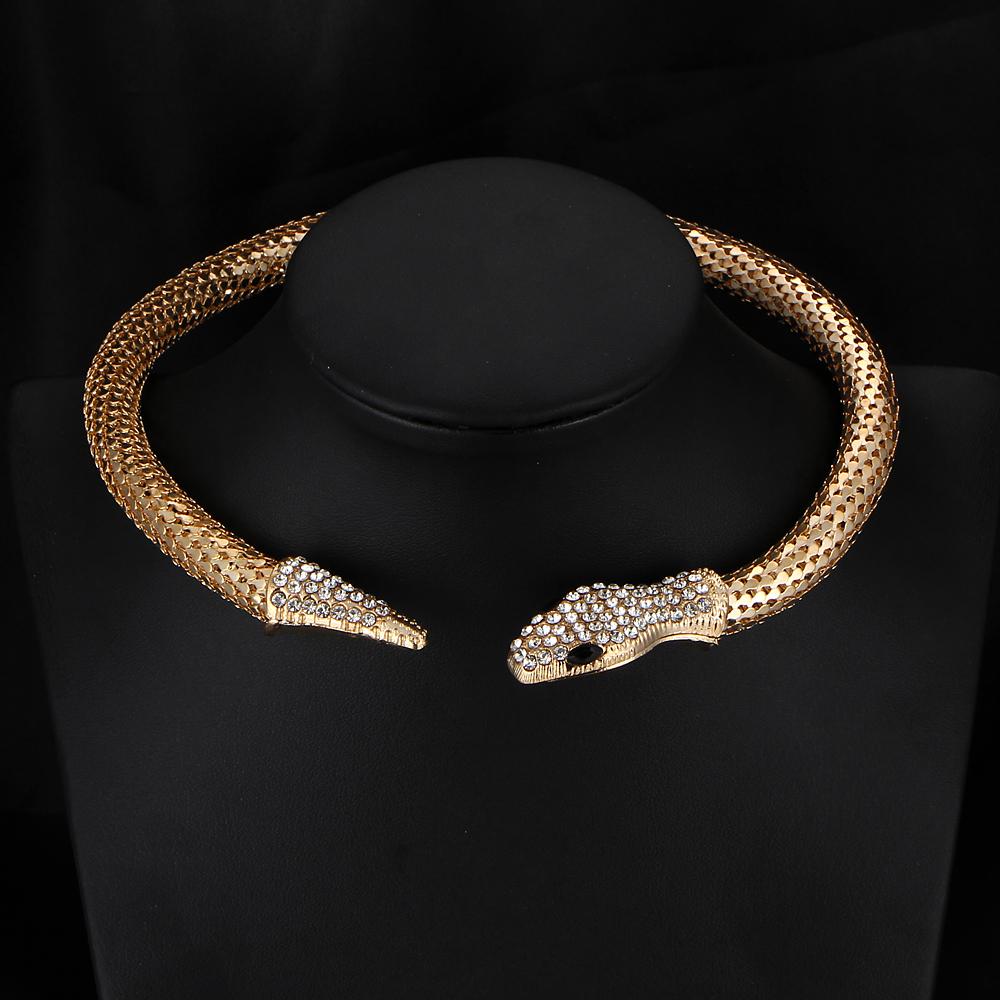 New Design hot sale Fashion Personality Luxury Rhinestone Snake chain necklace choker Statement jewelry women 2015 PD24